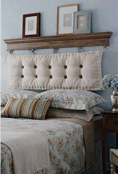 Headboard- patio chair cushion or diy pillow. place hangers in the shelves and attach with ties or loops. Affordable & a bit rustic ..... Good idea