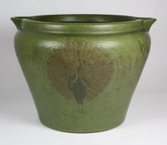 Marblehead Pottery (1904-1936) - Peacock Vase. Incised, Painted and Matte-Glazed Pottery. Marblehead, Massachusetts. Circa 1900.