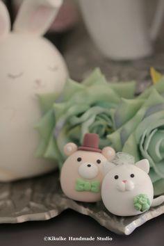 Cat and Bear wedding cake topper #kitten #kitty #animals cake topper