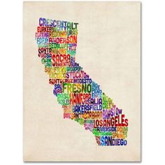 Trademark Art 'California Text Map' Canvas Art by Michael Tompsett, Size: 14 x 19, Multicolor