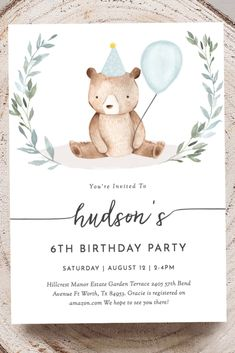 An Adorable, Editable Bear Birthday Party Invitation, Perfect for a Bear Birthday Party. Need More Bear Birthday Party Ideas? See Etsy for More.