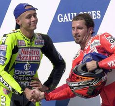 Valentino Rossi & Max Biaggi. The love in this picture is palpable. The problem is Max could never beat Vale.