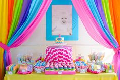 Awesome Treat Dessert Table at a Rainbow Birthday Party!  Anders Ruff Custom Designs, LLC: A Rainbow 1st Birthday Party