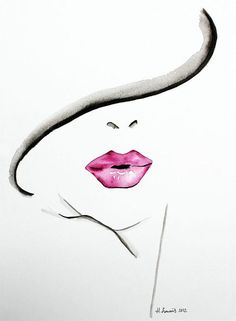 Original Fashion and Beauty Illustration of womans lips by Helen Simms, simple watercolour portrait painting
