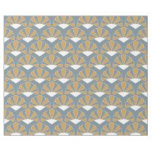 Gold and Silver Blue Art Deco Fan Flowers Pattern Wrapping Paper   Zazzle