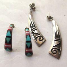 Native American Sterling Earrings Navajo Hopi by stonebridgeworks