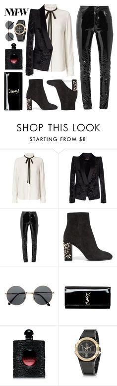 """""""NY Fashion Week"""" by mindpanic ❤ liked on Polyvore featuring Frame Denim, Roberto Cavalli, Anthony Vaccarello, René Caovilla, H&M, Yves Saint Laurent and Maserati"""