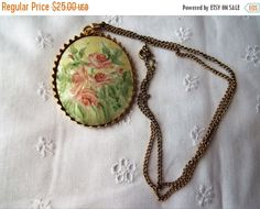 SALE Vintage Hand Painted Porcelain Necklace by S. by Marrvelous Painted Porcelain, Hand Painted, Gold Bands, Pink Roses, Buy And Sell, Brooch, Pendant Necklace, Handmade, Stuff To Buy