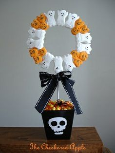 Halloween PEEPS Topiary! Cute for a party centerpiece!