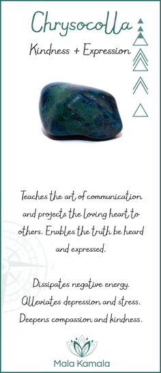 What is the meaning and crystal and chakra healing properties of chrysocolla? A stone for kindness and expression.