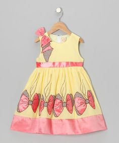 Take a look at this Yellow Vine Bows Dress - Toddler & Girls by the Silly Sissy on #zulily today!