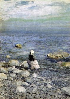 On the Shore of the Black Sea - Konstantin Korovin (Russian, Impressionism Art Plage, Names Of Artists, Virtual Art, Reproduction, Art Academy, Seascape Paintings, Black Sea, Russian Art, Beach Art