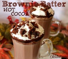 Brownie Batter Hot Cocoa! Not only is it warm, comforting and chocolaty..but the addition of the Brownie Mix gives it a rich, thick, smooth and 'batter-like' texture that goes down SO nicely!  It's almost like a warm mug of liquid Brownies!