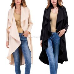 $13.94 - Woman Classic Trench Coat Solid Casual Business Outerwear Long Sleeve Cardigan #ebay #Fashion