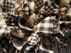 Square Frame Rag Wreath Black and Tan check by RagWreathBoutique