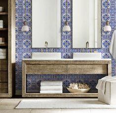 Blue Moroccan Tile Repositionable Removable Wallpaper, Peel & Stick Fabric Wallpaper, Spanish Portug