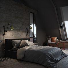 cama negra en el dormitorio moderno