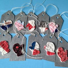 10 Mitten Gift Tags from Vintage Quilt Primitive by RescuedFabrics