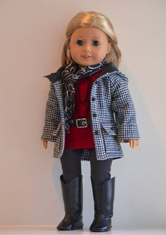 18 inch, American Girl Doll Clothing. Active wear  Ensemble. Tunic top with Belt, Leggings, Jacket, Scarf and Necklace.