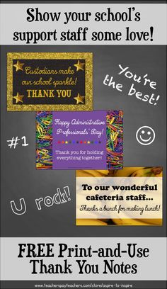 Did you know Administrative Professionals' Day is April 26? Have your students show some love to your school's support staff with these FREE print-and-use thank you cards!