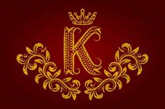 Patterned golden letter K monogram. Logo Templates. $3.00