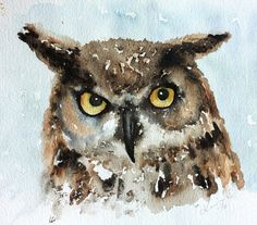 Sunday Watercolors: Owl Studies
