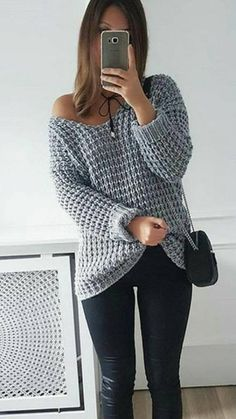 2017 NEW Autumn Winter Women Loose Soild Color V Neck Plus Size Pullover Knitted Shirt Off Shoulder Long Sleeve Sweaters Knitting Stitches, Knitting Designs, Knitting Patterns Free, Hand Knitting, Crochet Patterns, Free Pattern, Casual Sweaters, Sweaters For Women, Cozy Sweaters