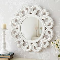 Round Carved Mirror - £24.95 http://www.livelaughlove.co.uk/Round-Carved-Mirror.html