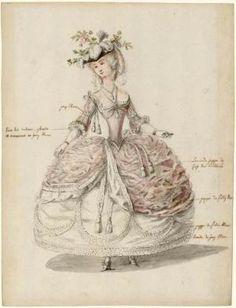 Charles-Germain de Saint-Aubin lady in court dress (historical fashion - Historical Fashion 18th Century Dress, 18th Century Fashion, Historical Costume, Historical Clothing, Mode Vintage, Vintage Ladies, Mode Rococo, Costume Français, Costume Ideas