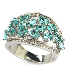 Gorgeous Rich Blue Aquamarine, White CZ Girls Silver Ring 7.75 # #Ring