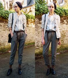 Chino Pants, Second Hand Beret, H&M Sheer Shirt, Second Hand Flat Shoes