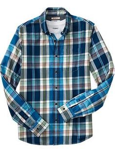 Men's Plaid Slim-Fit Shirts | Old Navy; Nate is so damn handsome in these