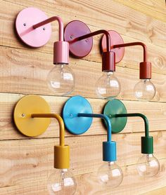colorful industrial wall sconce by onefortythree via Atticmag