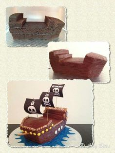 Want To Make With Pre-made Mini Cakes.Pirate Ship Cake (With Hershey's Chocolate Cake Recipe) Make Ship Like This. Want To Make With Pre-made Mini Cakes.Pirate Ship Cake (With Hershey's Chocolate Cake Recipe) 3rd Birthday Parties, Boy Birthday, Pirate Birthday Cake, Themed Parties, Pirate Ship Cakes, Easy Pirate Cake, Pirate Ships, Hershey Chocolate, Chocolate Cake