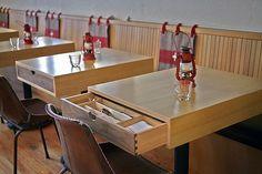 brilliant- napkin and utensil storage at each table- TBD Restaurant