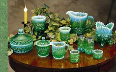 Mosser Glass, Inc. -The Eye Winker pattern - a lovely green fading to a milky blue.