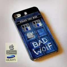 "Tardis Doctor Who Bad Wolf Print On Hard Plastic For iPhone 4/4s, Black Case  This case is available for: iPhone 4/4S iPhone 5/5S iPhone 6 4.7"" screen Samsung Galaxy S4 Samsung Galaxy S5 iPod 4 iPod 5"