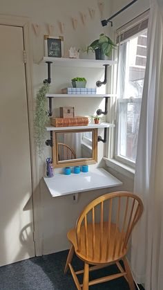 Making room for a desk even in the smallest of spaces, AND DIY Industrial pipe shelves.