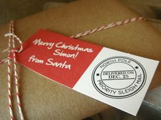 """PRINTABLE Personalized """"From Santa"""" Gift Tags"""