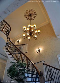 Stenciled Entryway Ceiling via Tom Henman | Custom Modello® Stencil by Modello® Designs