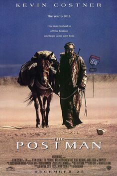 The Postman , starring Kevin Costner, Will Patton, Larenz Tate, Olivia Williams. A drifter with no name finds a jeep with the skeleton of a postman and a bag of mail and dons the postman's uniform and bag of mail as he begins a quest to inspire hope to the survivors living in the post apocalyptic America. #Action #Adventure #Drama #Sci-Fi