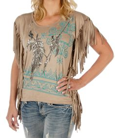 Look what I found on #zulily! Liberty Wear Tan & Teal Fringe-Accent Top - Plus Too by Liberty Wear #zulilyfinds
