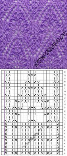 ажурный узор спицами схема | каталог вязаных спицами узоров | вязание | Постила