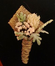 DIY handmade rustic burlap adorned groomsmen boutonnaire