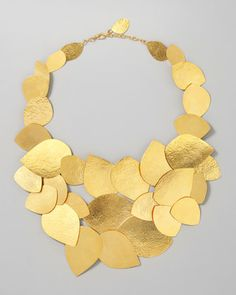 Herve Van Der Straeten | Leaf Cluster Necklace | 24-karat yellow gold plate, hammered finish