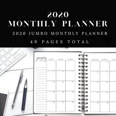 2020 Monthly Calendar Planner | Jumbo Planner for 2020 with Calendar, Printable Planner, Digital Planner by DesignerJaim on Etsy Monthly Planner Printable, Printable Calendar Template, Goals Planner, Happy Planner, Academic Planner, Kids Calendar, Teacher Planner, Personal Planners, Lettering