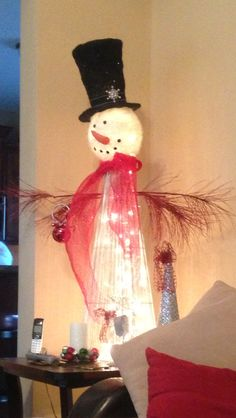 Add some decor, insert a stand of lights & viola . My project inspiration from my sis-in-law! Snowman Tree, Merry Christmas And Happy New Year, Christmas Stockings, Christmas Crafts, Whimsical, Lights, Create, Holiday Decor, Barrel