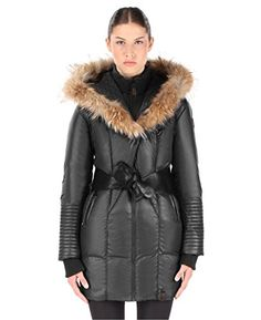 RUDSAK Women's Sophie Down Coat with Leather Belt, Black, Large