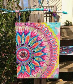 Mandala art by Robin Mead - Mandala art by Robin Mead - Hippie Painting, Trippy Painting, Mandala Painting, Mandala Drawing, Diy Painting, Mandala On Canvas, Art Diy, Diy Artwork, Aesthetic Painting