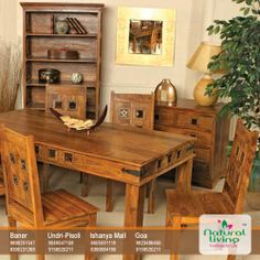 Diced back chairs, and the same pattern at the borders, is a teakwood cut of dining room set. #JaaliWork #Hardwood #NaturalLiving #Pune #Goa